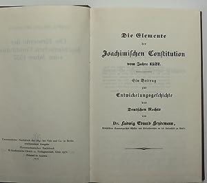 Die Elemente der Joachimischen Constitution [Konstitution] vom Jahre 1527 : Ein Beitrag zur ...
