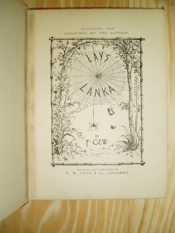 Lays of Lanka by Gew, F.: H.W. Cave & Co. n.d. [1903], Colombo [Sri ...