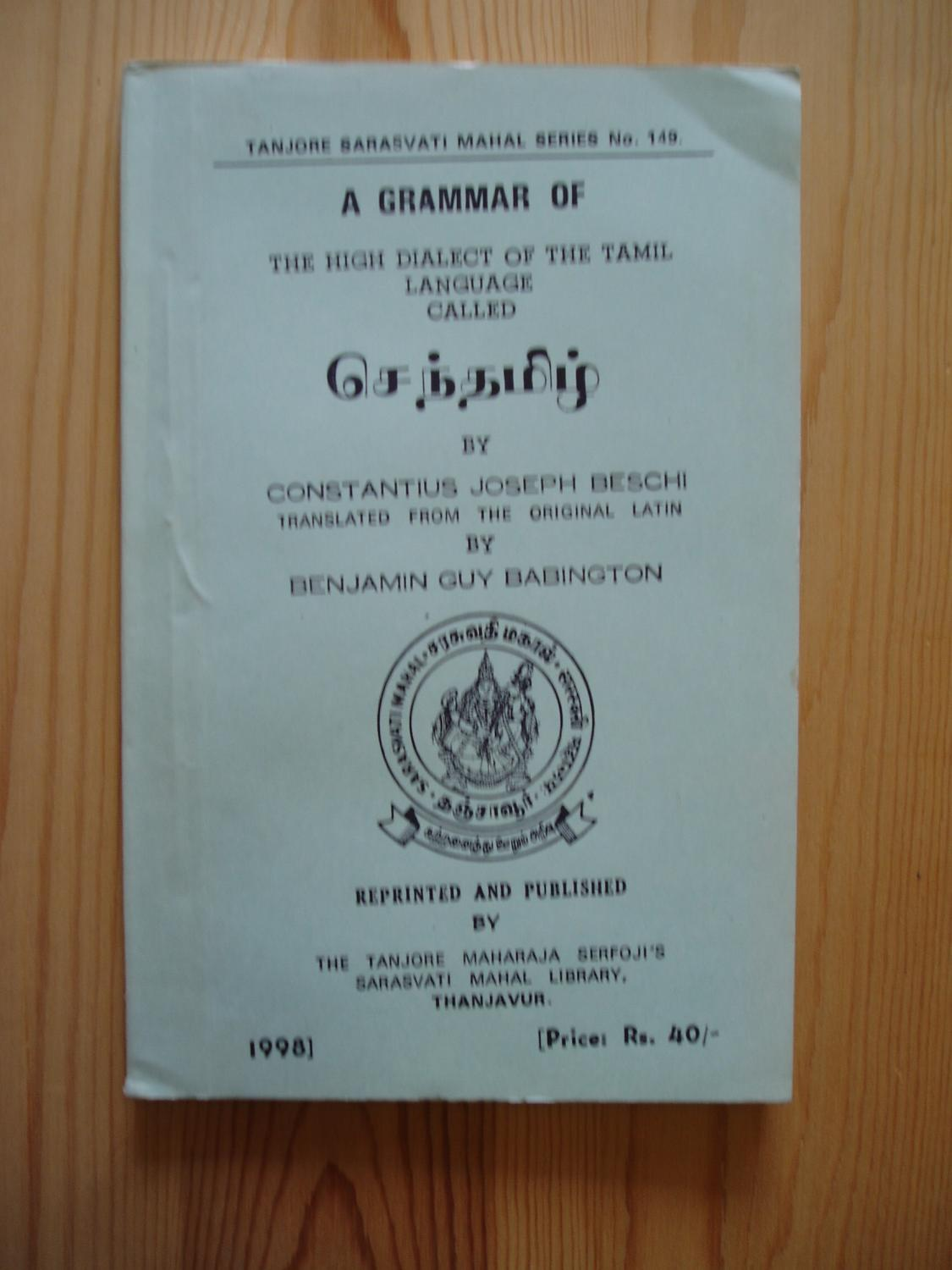 A Grammar of the High Dialect of the Tamil