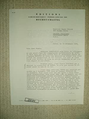 A typed-letter-signed by Guy Buchet to Henry: Buchet, Guy [