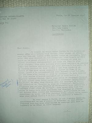 A typed-letter-signed by Edmond Buchet to Henry: Buchet, Edmond [