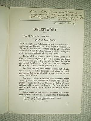 Zum 80. Geburtstage von Robert Seidel : Feierrede . zu Seidels 70. Geburtstag 1920 gehalten in der ...