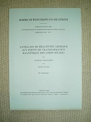 Anomalies de réactivité chimique aux points de: Forestier, Hubert &