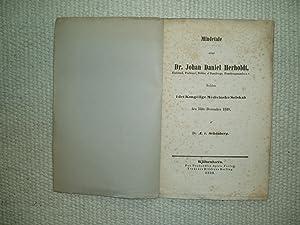 Mindetale over Dr. Johan Daniel Herholdt, Etatsraad,: Albrecht von Schønberg,