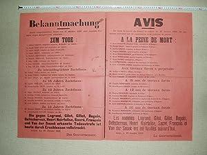 Bekanntmachung / Avis [a poster announcing death: Belgium, Imperial German