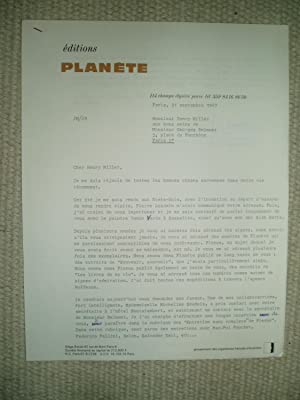 A typed-letter-signed from Jacques Mousseau, chief editor: Mousseau, Jacques [