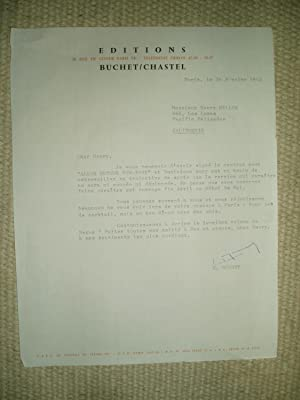 A typed-letter-signed by French publisher Edmond Buchet to Henry Miller dated 26 février 1962: ...