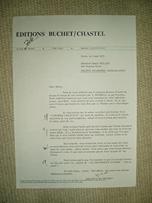 A typed-letter-signed by French publisher Guy Buchet to Henry Miller dated 5 mai 1975: Buchet, ...