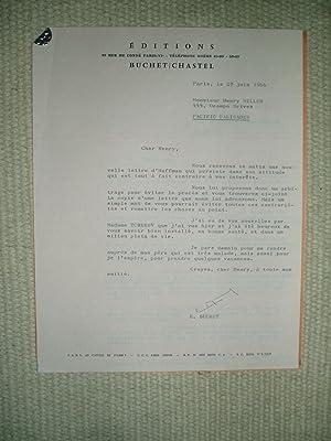 A typed-letter-signed by French publisher Edmond Buchet: Buchet, Edmond [