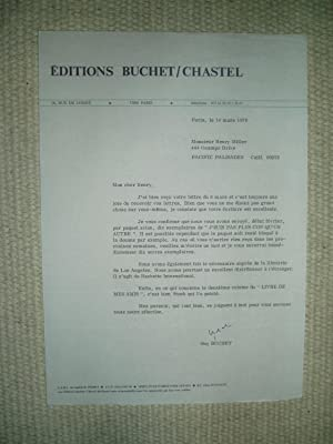 A typed-letter-signed by French publisher Guy Buchet: Buchet, Guy [