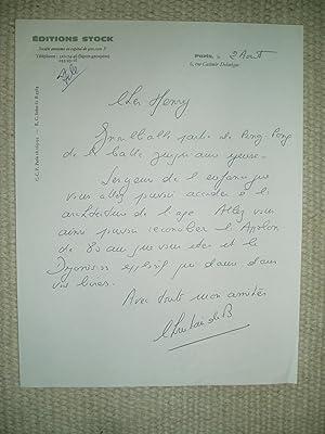 A handwritten letter from Christian de Bartillat,: Bartillat, Christian de