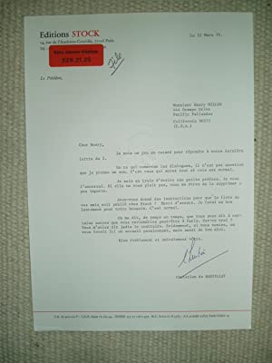 A typed-letter-signed by Christian de Bartillat, president: Bartillat, Christian de