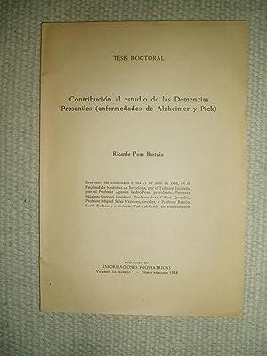Contribución al estudio de las demencias preseniles: Pons Bartran, Ricardo