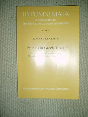 Studies in Greek Texts : Critical Observations to Homer, Plato, Euripides, Aristophanes and Other ...