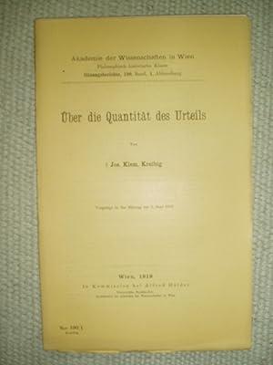 Über die Quantität des Urteils: Kreibig, Josef Klemens [1863-1917]