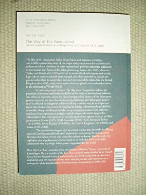 The Way of the Vanquished : Fallen Great Powers and Responses to Collapse 1815-2004: Toft, Peter
