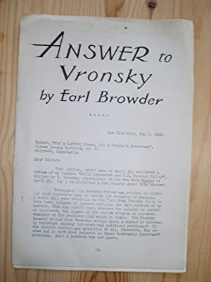 Answer to Vronsky