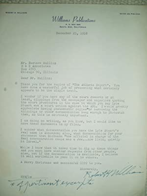a typewritten letter from Robert H. Williams to Eustace Mullins dated December 23, 1958