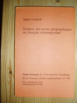 Syntaxe des noms geographiques en francais contemporain: Lomholt, Jorgen
