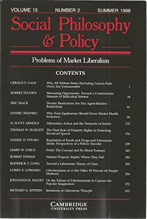 Social Philosophy & Policy Vol 15 Number 2 - Problems of Market Liberalism