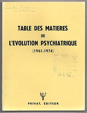 Table des Matières de L'Evolution Psychiatrique (: TRILLAT, Etienne (ed.)