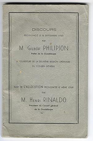 Discours prononcé le 16 Septembre 1950 à l'ouverture de la deuxième session ordinaire du ...