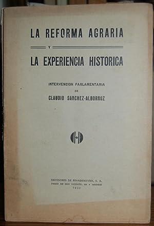 LA REFORMA AGRARIA Y LA EXPERIENCIA HISTORICA.: SANCHEZ ALBORNOZ, Claudio