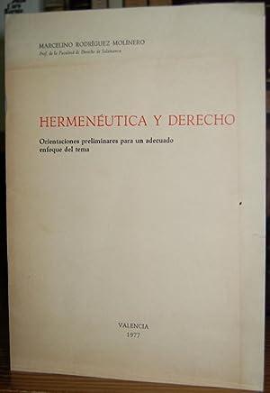 HERMENEUTICA Y DERECHO. Orientaciones preliminares para un: RODRIGUEZ MOLINERO, Marcelino