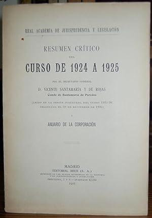 RESUMEN CRITICO DEL CURSO DE 1924 A: SANTAMARIA Y DE