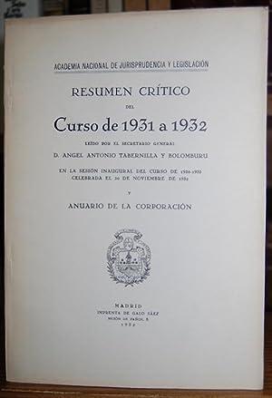 RESUMEN CRITICO DEL CURSO DE 1931 A: TABERNILLA Y BOLOMBURU,