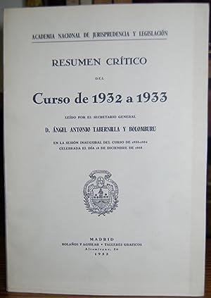 RESUMEN CRITICO DEL CURSO DE 1932 A: TABERNILLA Y BOLOMBURU,