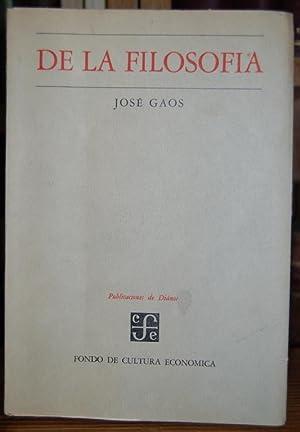 DE LA FILOSOFIA. Curso de 1960: GAOS, José