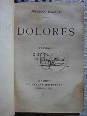 Dolores. Poesías: BALART, FEDERICO
