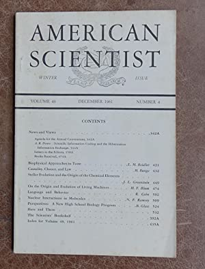 American Scientist: Winter Issue, December 1961 - Volume 49, Number 4