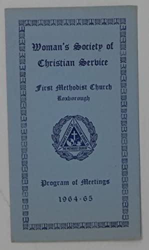 Woman's Society of Christian Service, First Methodist Church, Roxborough - Program of Meetings 19...