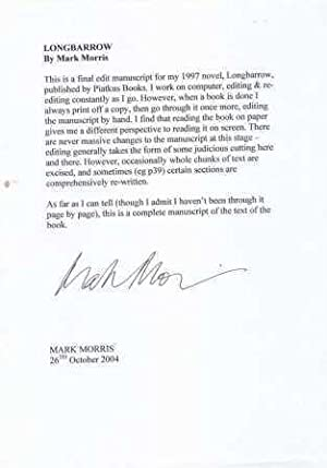 LONGBARROW - signed unbound manuscript: Morris mark