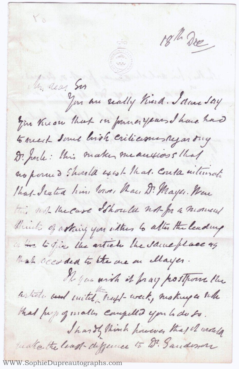viaLibri ~ Autograph Letter Signed to an unnamed correspondent (John