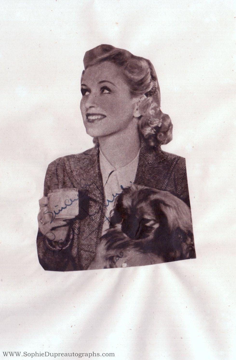 Signed Magazine Portrait Photograph, (Carole, 1918-2008, Revue Artiste & Actress, wife, 1946, of Bernard, Lord Delfont) LYNNE