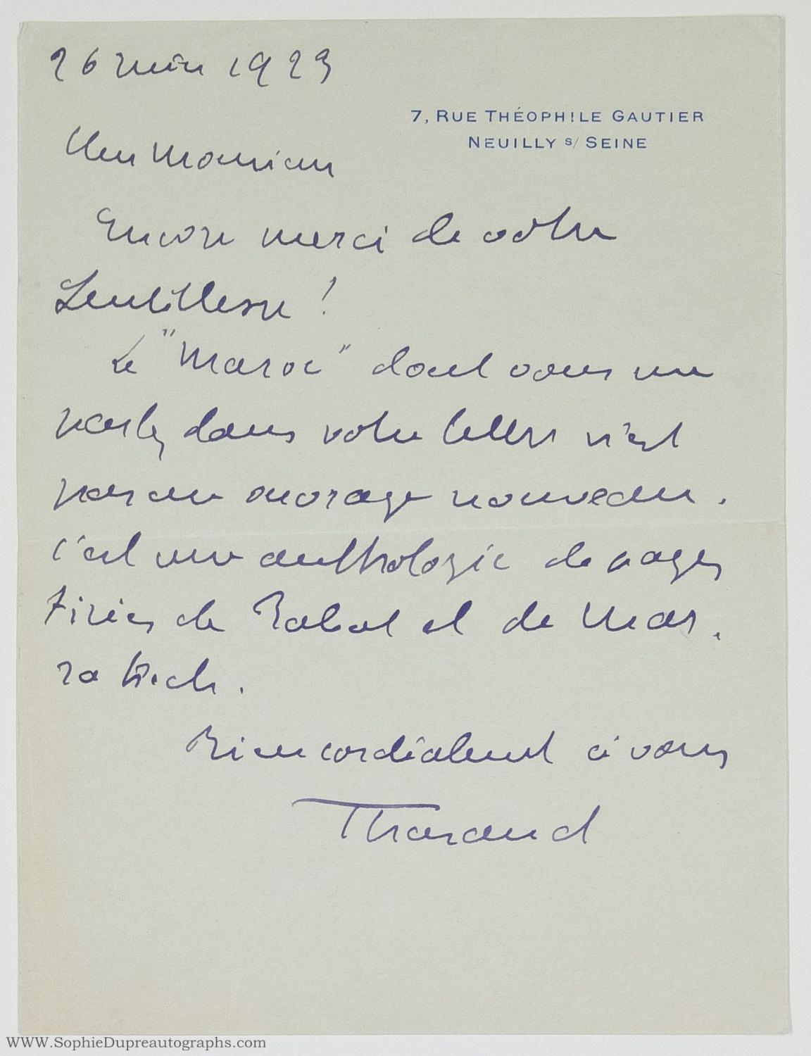 Autograph Letter Signed 'Tharaud' to Monsieur Premsela, (Jean, 1877-1952, French Writer and Academician) THARAUD
