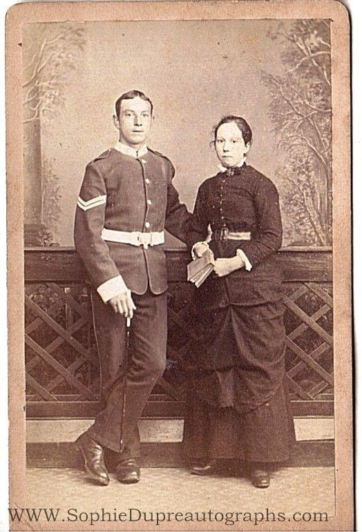Evocative Studio Carte De Visite Photograph Of A Soldier In Dress Uniform With His Wife
