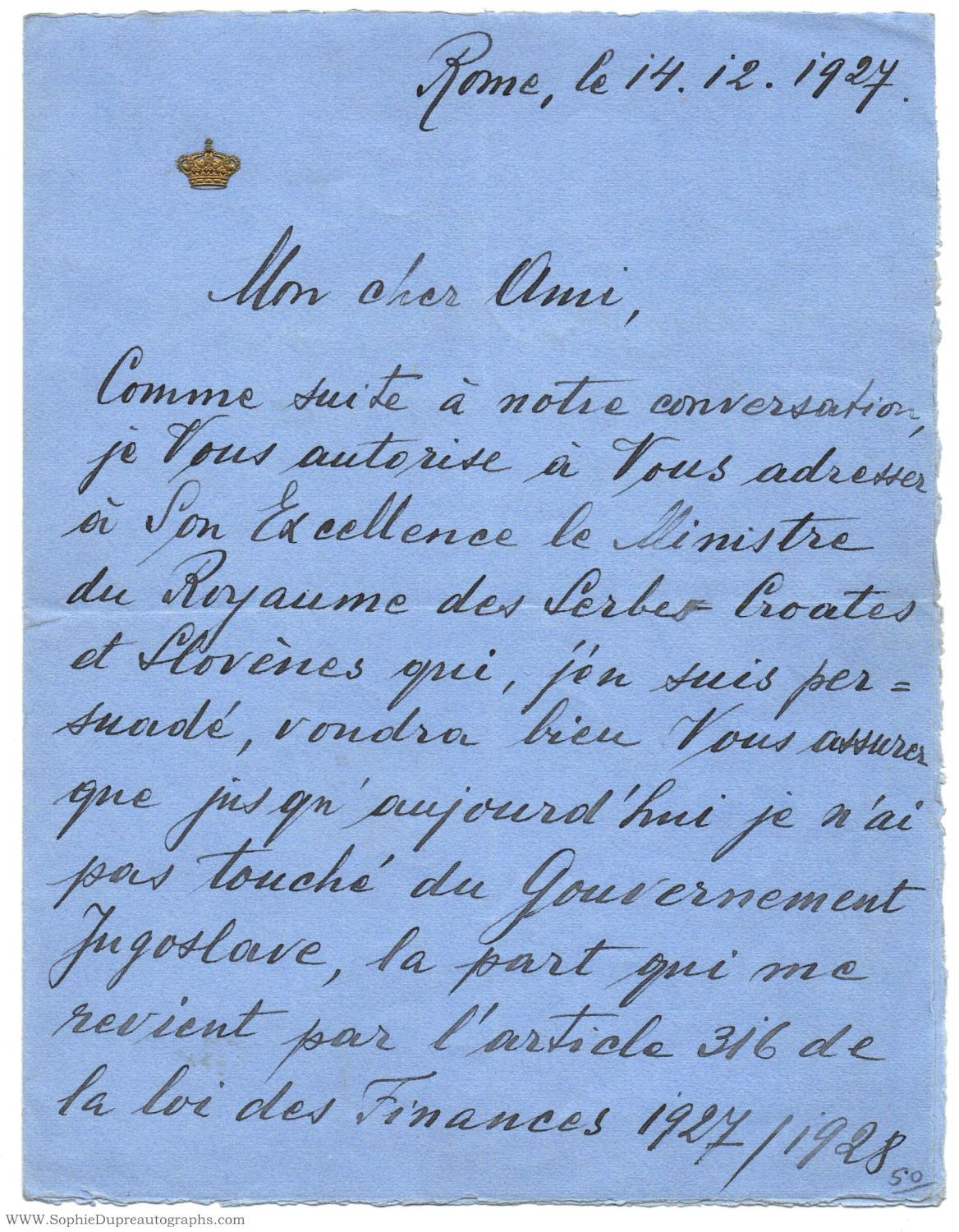 viaLibri ~ Autograph Letter Signed, in French with