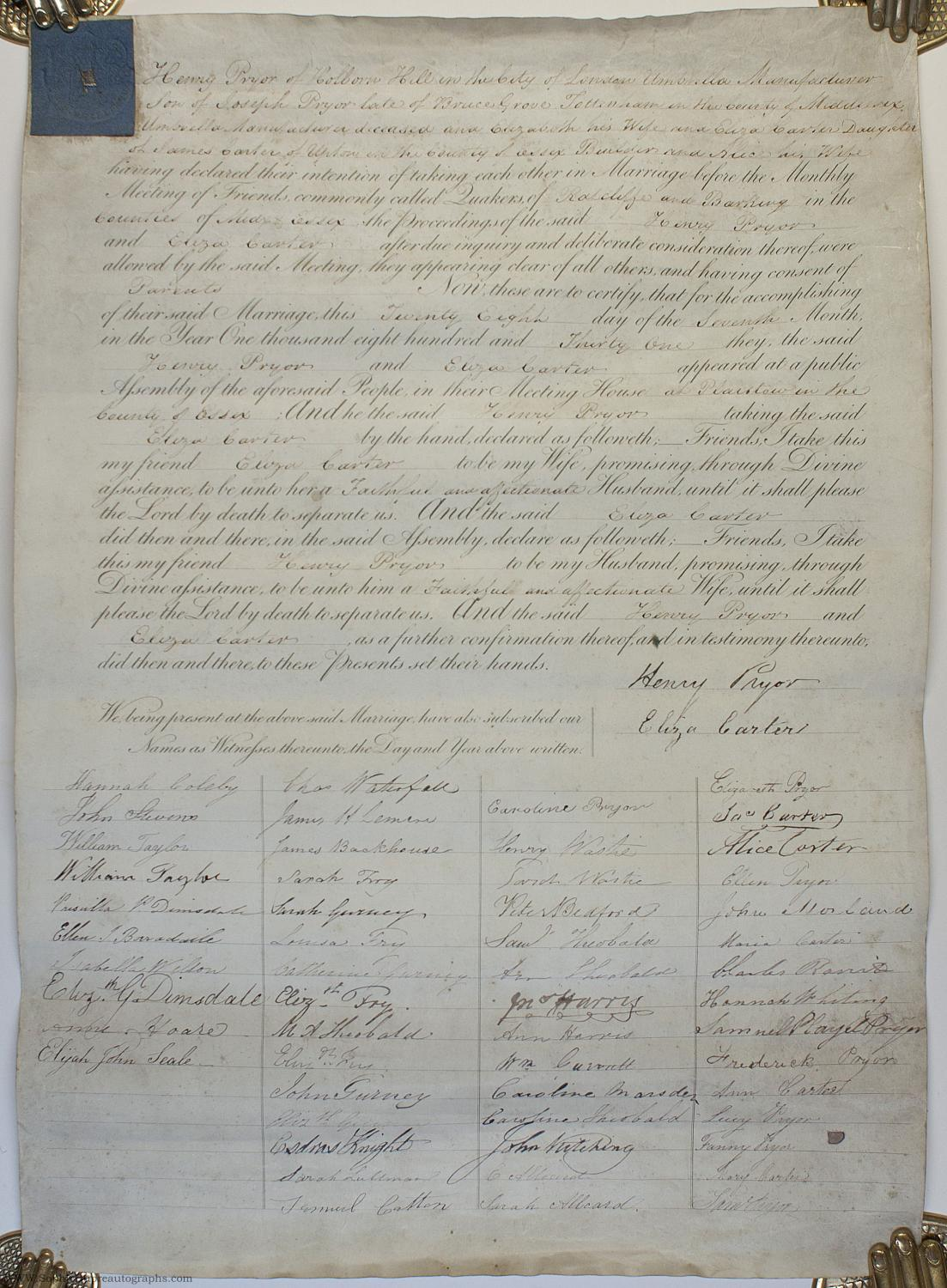 Quaker marriage certificate, recording, (Henry, of Holborn Hill ...