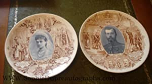 Fine pair of China Plates commemorating their visit to France in 1896 (1868-1918, Tsar of Russia ...