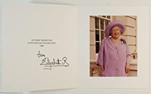 Fine Christmas Card with printed signature under the printed message of greeting, (The Queen Moth...