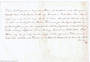 Letter signed 'Yo la Reyna' in Spanish with translation, (1830-1904, Queen of Spain 1833-1868)