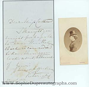 Fine Autograph letter signed in full to Miss Emily Sarah CATHCART (1819-1901, Queen of Great Brit...