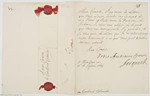 Fine Letter Signed 'Jacques R' to Cardinal COLLOREDO, (1633-1701, King of England, Scotland and I...