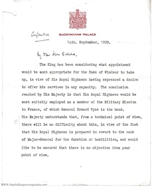 Typed Letter Signed to Leslie HORE-BELISHA, (Sir Alexander Henry Louis, 1894-1960, Private Secret...