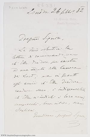 Autograph Letter Signed 'F.L. Menabrea' (Count Federico: MENABREA