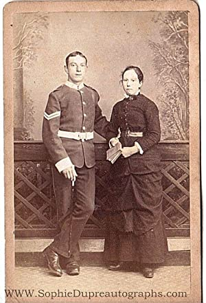 Evocative Studio carte de visite Photograph of a Soldier in Dress Uniform with his Wife,: MILITARY ...